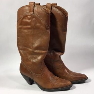 Shoes - Cognac Leather Cowgirl Boots